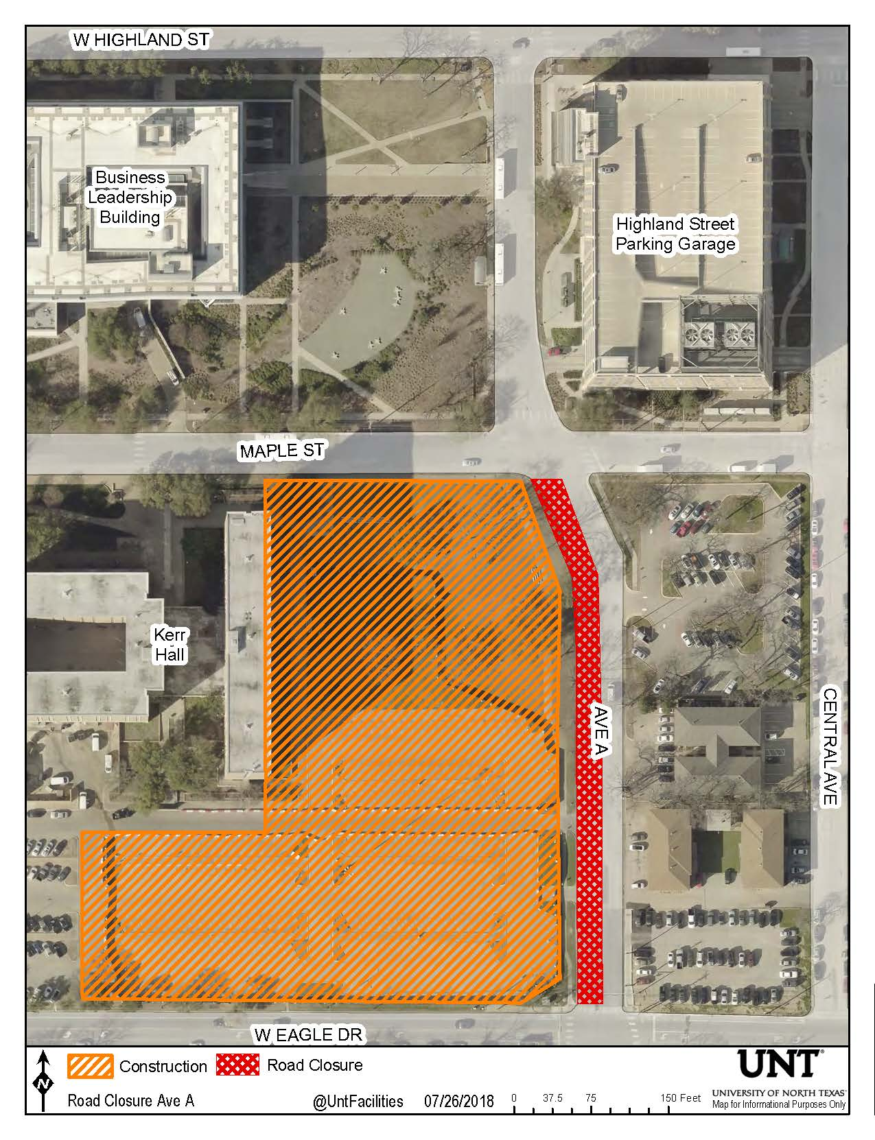 Map depicting construction area to the southeast of Kerr Hall and the Ave A southbound lane closure