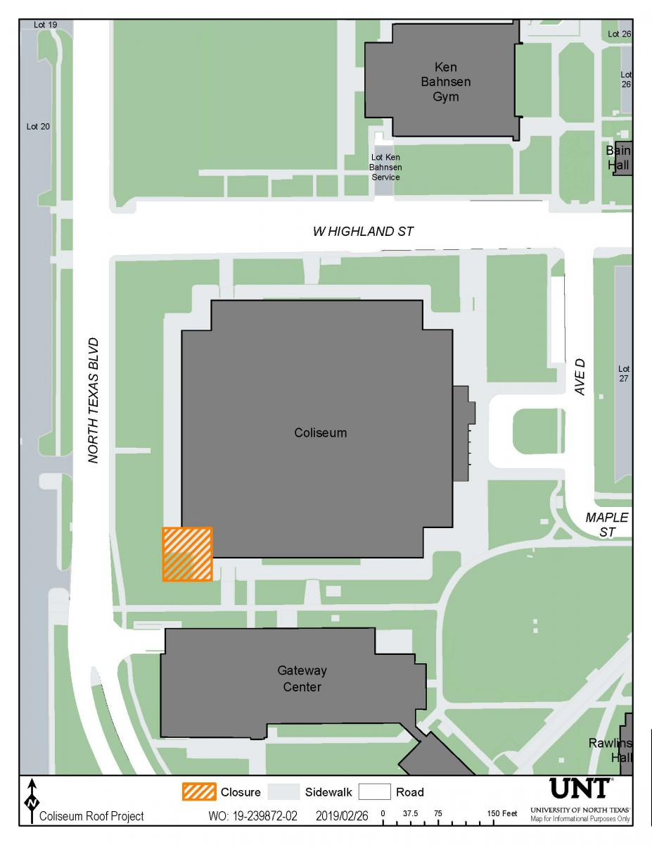 Map depicting the southwest area of the Coliseum as a job site.