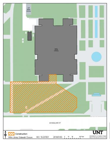 Map of Willis Library and surrounding buildings indicating east side entrance is open.