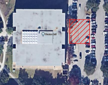 Diagram of crane location in the parking lot east of Wooten Hall