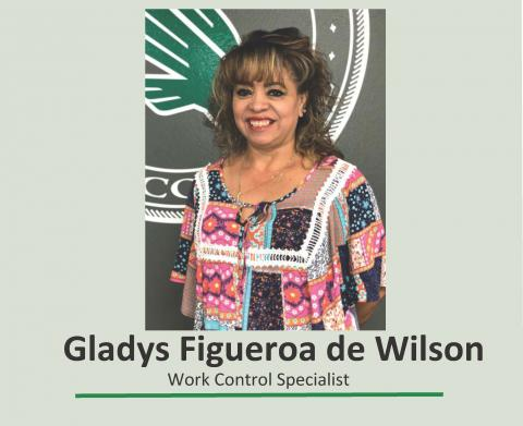 Gladys Figueroa Smiling in Work Control Office